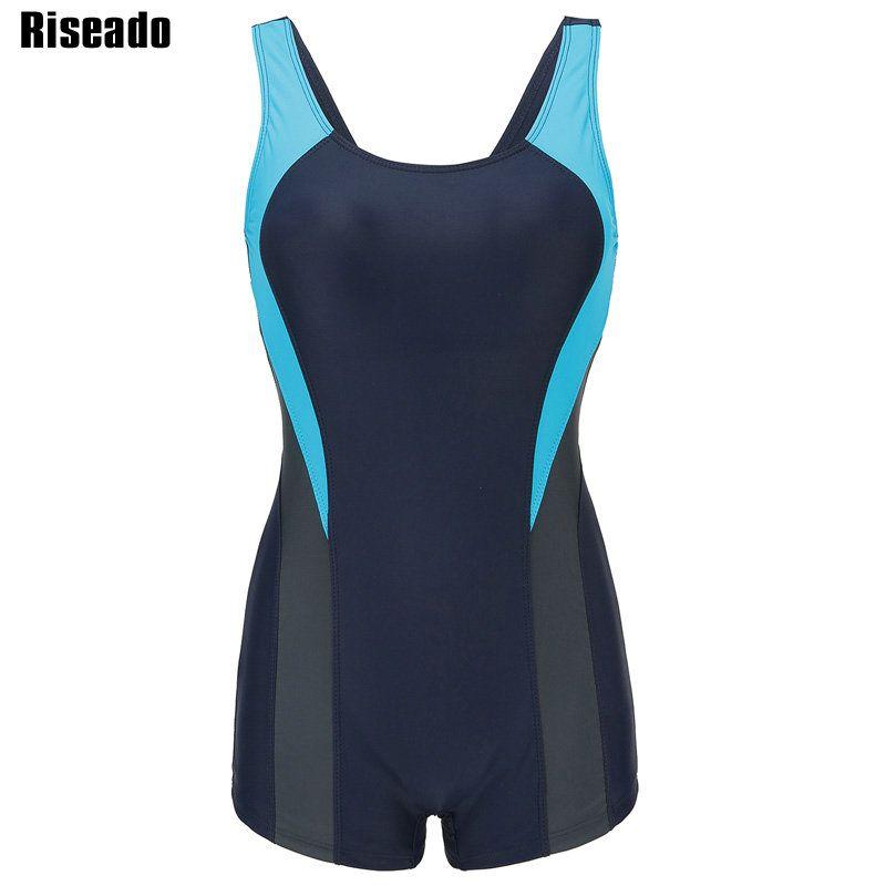 Riseado Training One Piece Swimsuit Sports Swimwear Women's Swimming Suits Patchwork Open Back Bathing Suits XXL