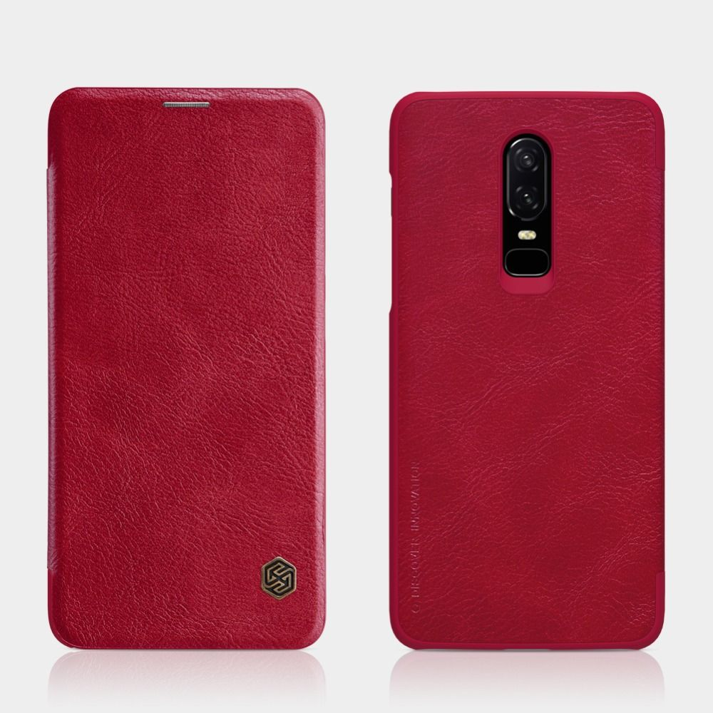NILLKIN oneplus 6 case Vintage PU Leather flip cover with Smart wake up function Wallet Card Slot for one plus 6 case 6.28 inch