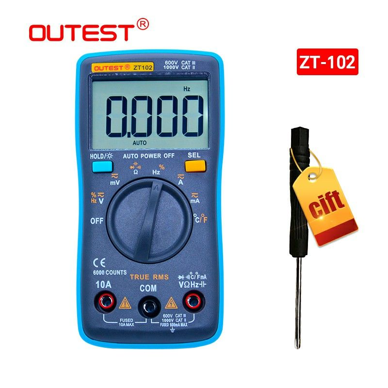 OUTEST Digital Multimeter 6000 Counts Backlight AC/DC Ammeter Voltmeter Ohm Portable Meter Voltage Meter Ture RMS Auto/Manual