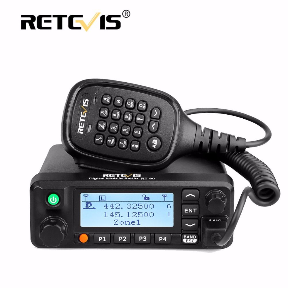 Retevis RT90 Mobile Car Walkie Talkie VHF UHF Dual Band DMR (GPS) 50W VOX Digital/Analog Two Modes Radio Station+Program Cable