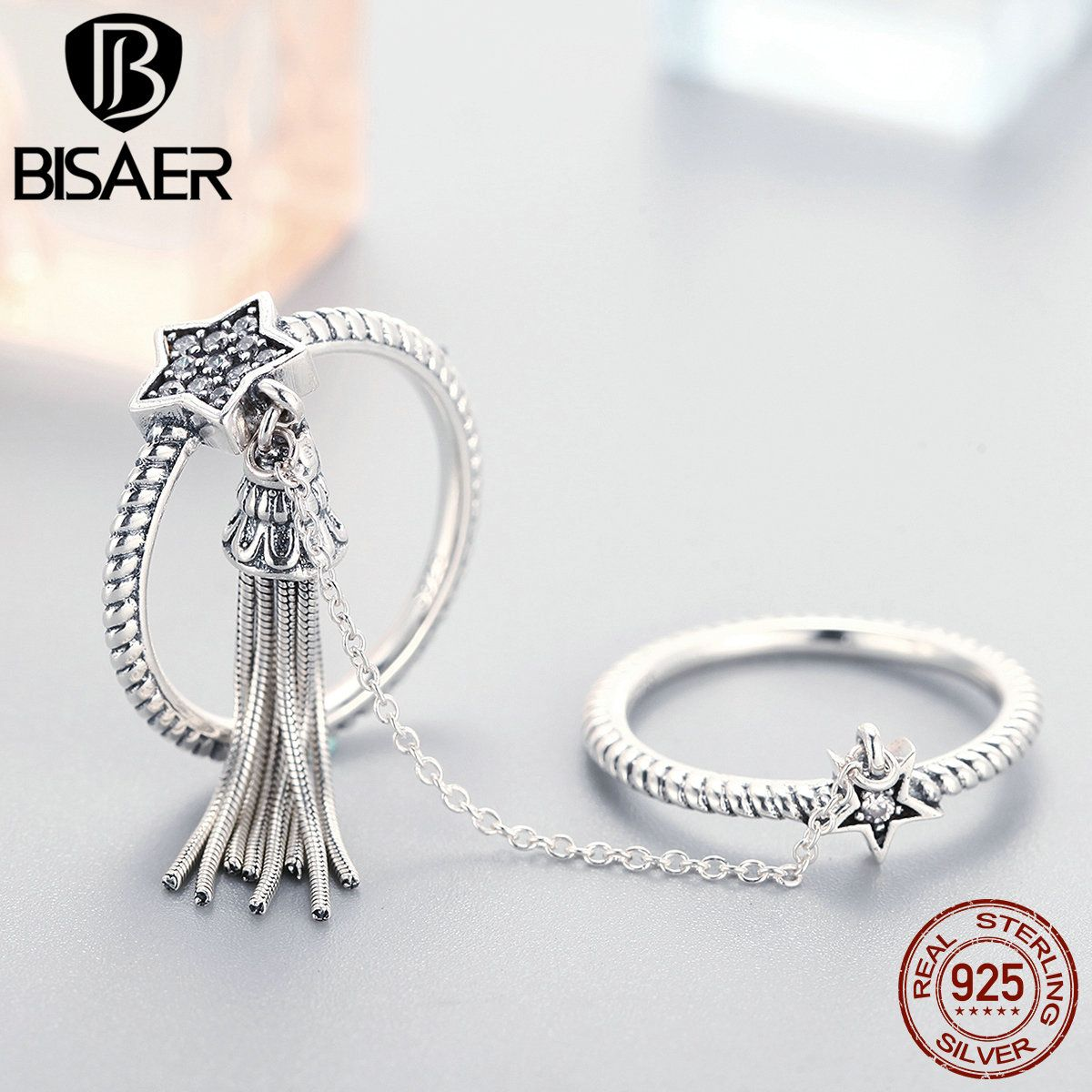 Genuine 925 Sterling Silver Sparkling Star & Tassel CZ Double Layer Finger Ring for Women Vintage Sterling Silver Jewelry Gift