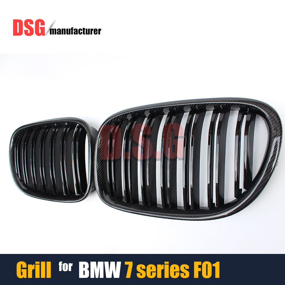 7 Series F01 Front Racing Grills Carbon Fiber Kidney Grille For BMW 740i 750i F02 F03 F04 2010 - 2015 Model 4-Door Saloon Bumper