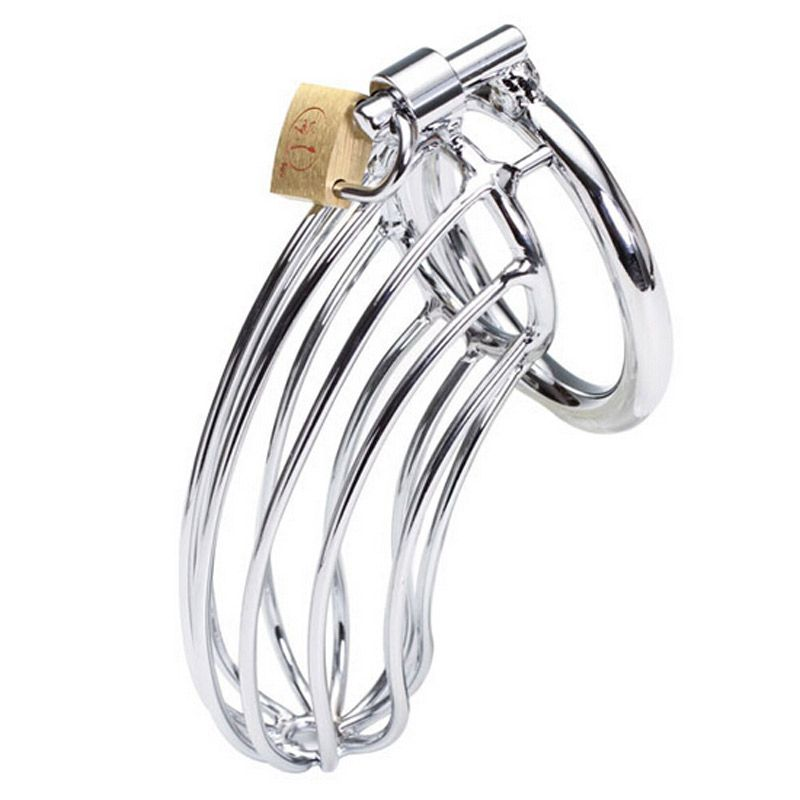 Stainless Steel Male Chastity Device Penis Ring Cock Cage Virginity Lock Rings Sex Toys for Men 40mm/45mm/<font><b>50mm</b></font>