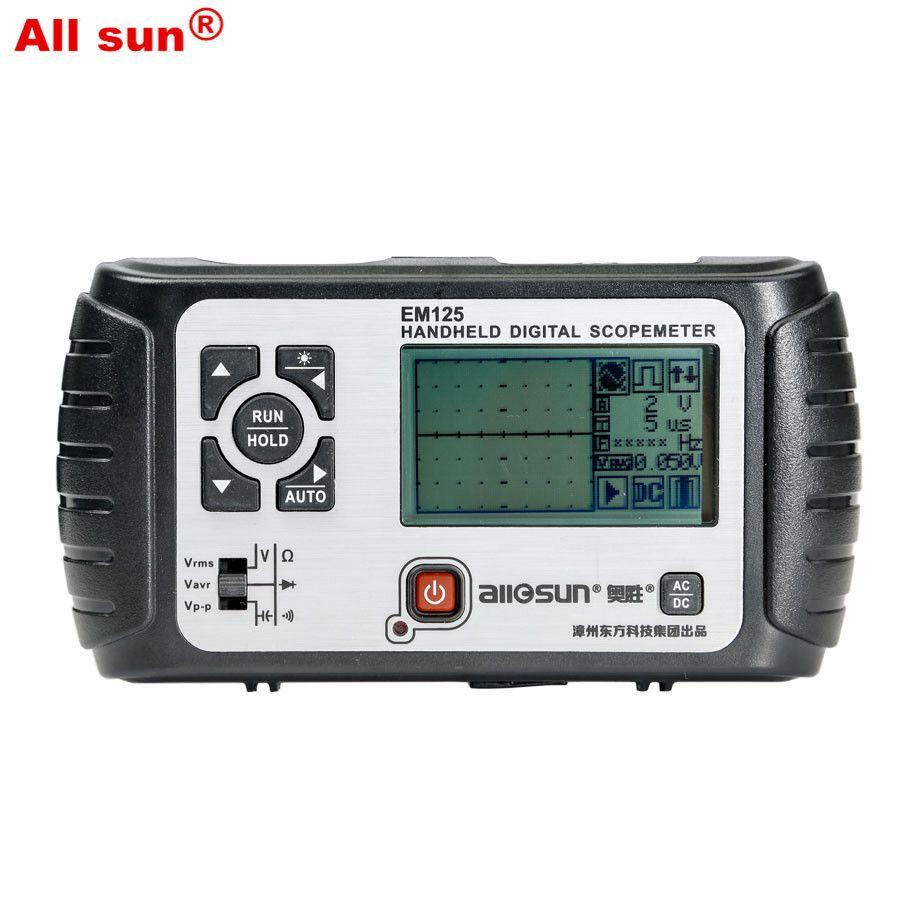 All-sun 25MHz 100MSa/s Digital 2 in1 Handheld Portable Oscilloscope+Multimeter Single Channel Waveform USB LCD Backlight EM125