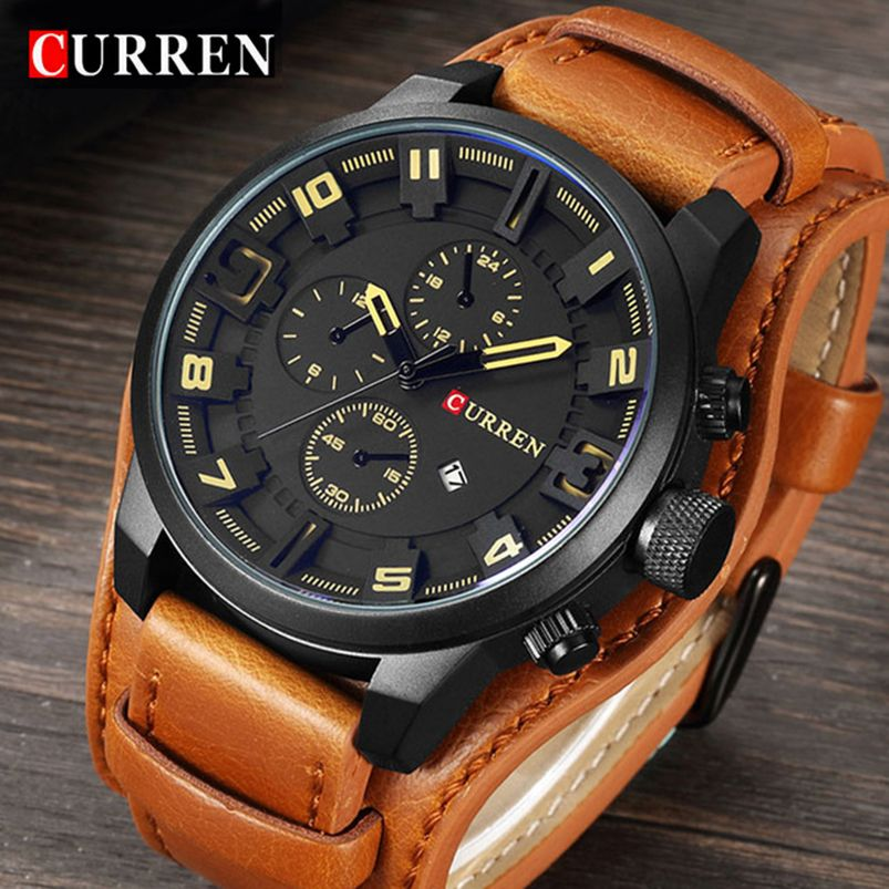 Curren Top Brand Luxury Men Watches Man Clock Male Retro Leather Army Military Sport Quartz-Watch Men Hodinky Relojes <font><b>Hombre</b></font>