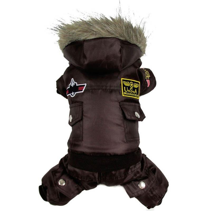 Perro Caliente de Invierno Perro Mascota Ropa de Abrigo Acolchado Con Capucha Mono Pantalones Trajes XS-XL