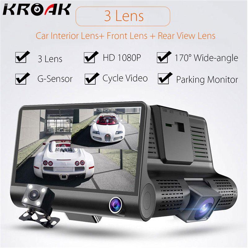 Kroak 4 Inch HD 1080P Dual Lens Car DVR Camera 3 Camera Dash Cam G-sensor Video Recorder+Car Rear View Backup Camera