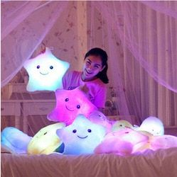 Luminous Juguetes Star Glowing Pillow Toys For Children Led Light Plush Cushion Star Pillow Kids Toys For Girls Christmas Gift