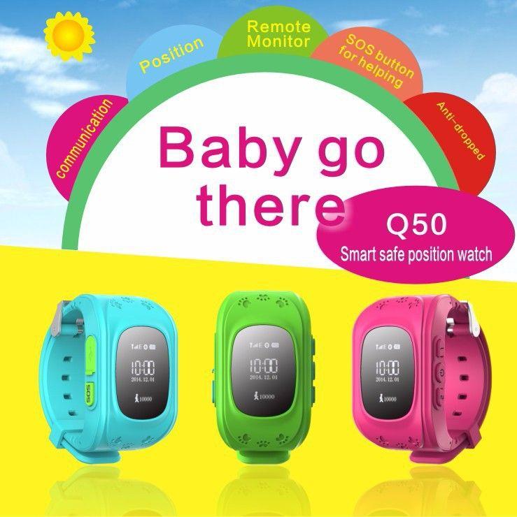 GPS Tracker Montre Pour Enfants SOS D'urgence Anti Perdu Bracelet bracelet Q50 Dispositifs Portables OLED éboulis pour Smart Phone App 8 couleur