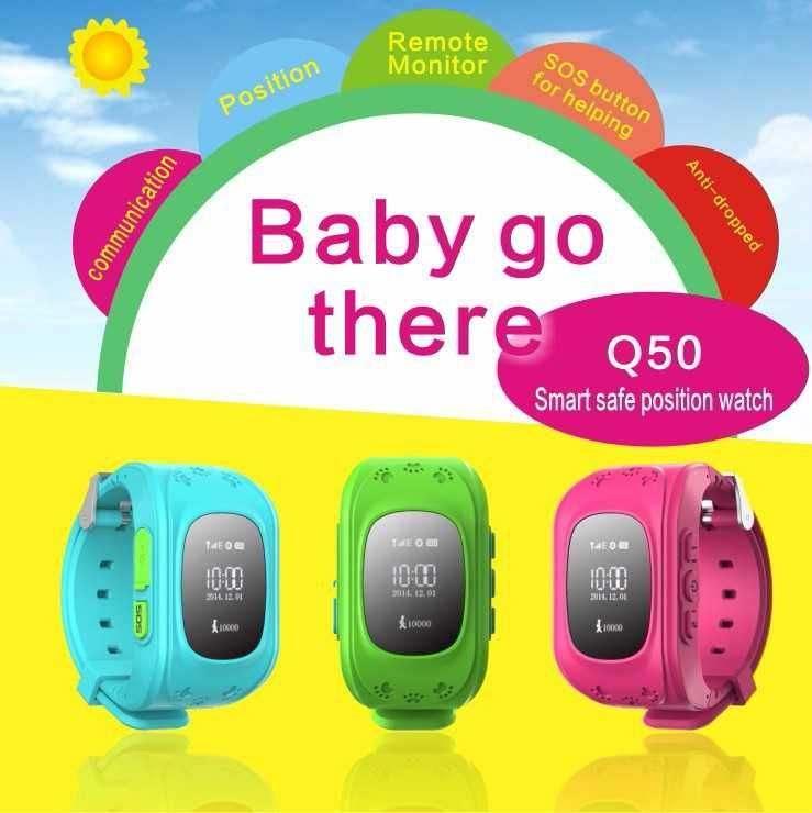 GPS Tracker Watch For Kids SOS <font><b>Emergency</b></font> Anti Lost Bracelet Wristband Q50 Wearable Devices OLED scree for Smart Phone App 8color