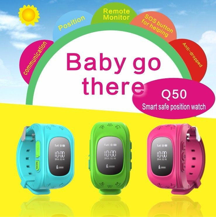 Gps tracker reloj para Niños SOS emergencia anti perdido pulsera q50 Dispositivos de vestir scree OLED para smart phone App 8 color