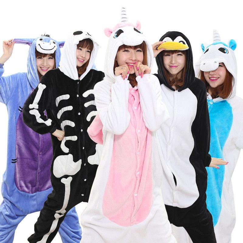 Warm Flannel pajamas for women Pajama <font><b>Couples</b></font> Cartoon Sleepwear Adult Animal Onsies Pijama Adulto Unicorn Panda Stitch Pijamas