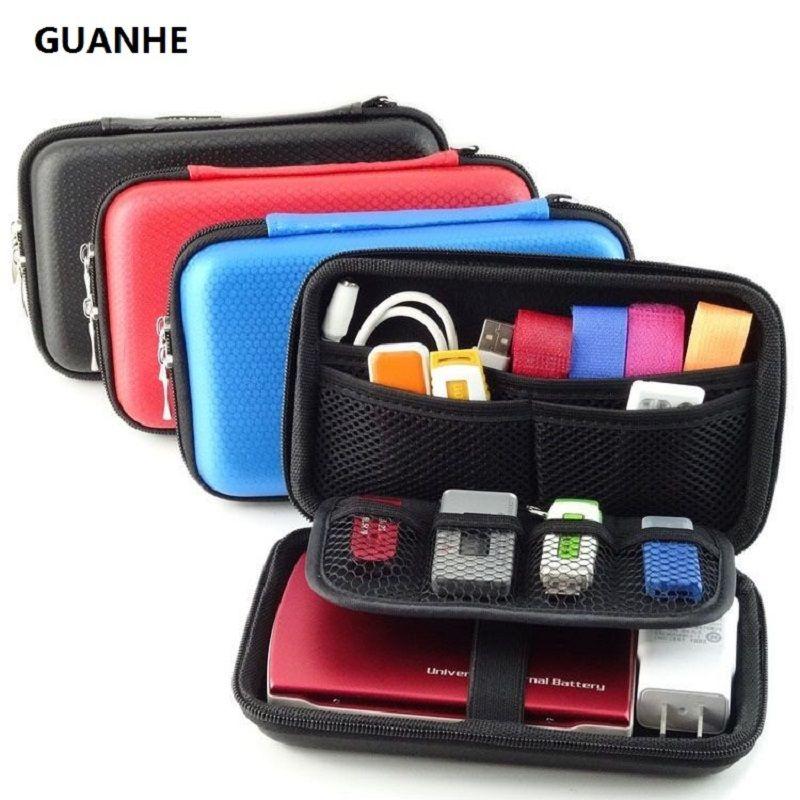 GUANHE 2.5 pouce 3 Couleurs Grand Câble Organisateur Sac Transporter cas HDD USB Flash Drive Carte Mémoire Téléphone Power Bank 3DS