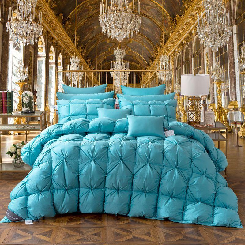 TUTUBIRD Blue Duck/Goose Down Bread Duvet Luxury Winter Warm Blanket Comforter Quilt 2.7~4.2kg Filler Twin Queen King Size