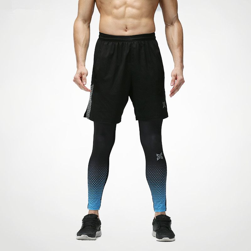 2017 new 2 pieces sports leggings running tights shorts suit men skins compression tights quick dry fitness gym running clothes