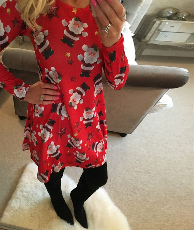 Women Christmas Dress 2017 Winter Round Neck Long Sleeve Knee-length Dress Snowman Chocolate Print Casual Dresses Plus Size 5XL