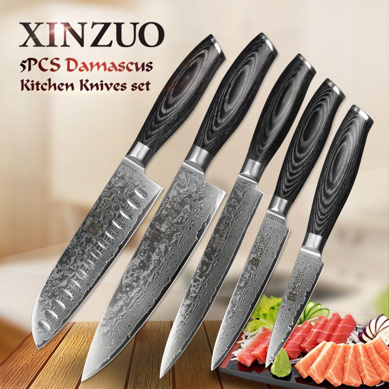 XINZUO 5pcs kitchen knives set 67 layer Japanese VG10 Damascus steel chef cleaver santoku utility paring knife pakka wood handle