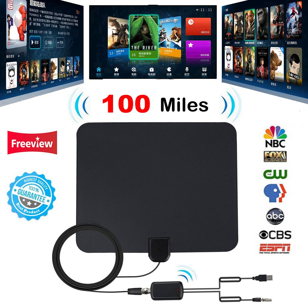 Intérieur Numérique TV Antenne avec Amplificateur de Signal Booster TV Rayon Antena TV Surf Antennes HDTV Tnt TDT Câble TV Renard antenne