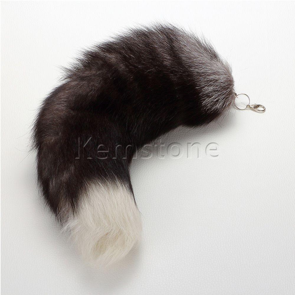 Big Fox Fur Tail Keychain Tassel Bag Handbag Pendant Accessory 16 Black
