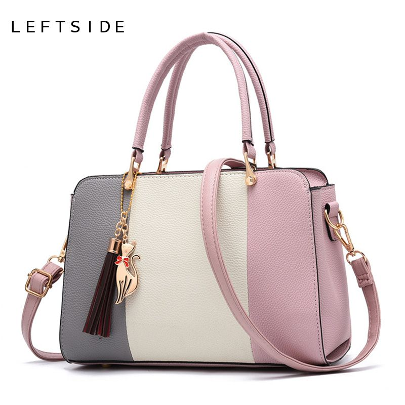LEFTSIDE 2018 Summer Women Hit color Leather Handbags Casual Tote bags Crossbody Bag Top-handle bag With Tassel And Cat Pendant