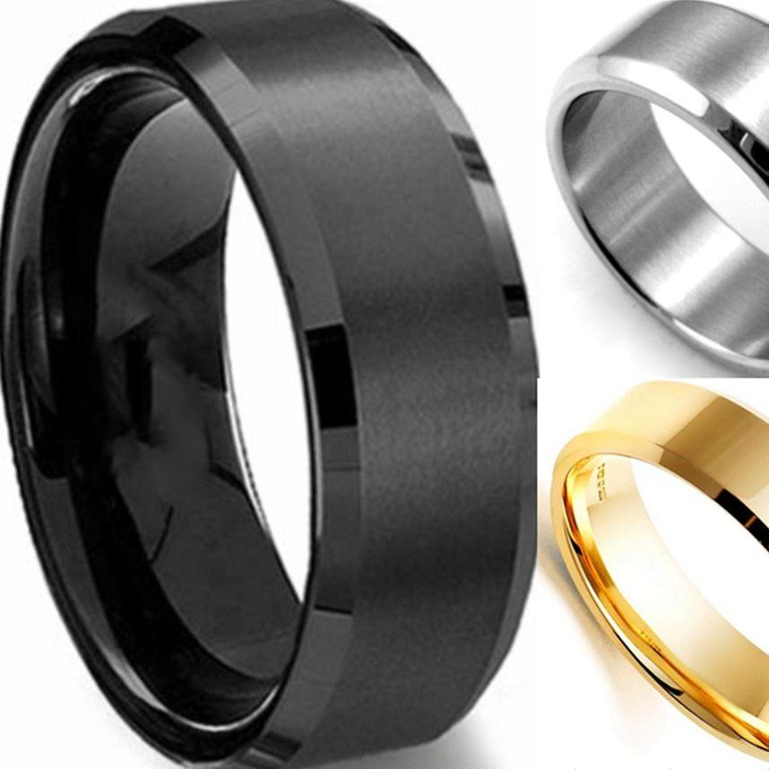 Hombres 7-15 y Medias Tallas 8 MM Negro Oro Plata Acero Inoxidable 316L Cepillado Wedding Engagement Banda Clásica anillo Simple Llano
