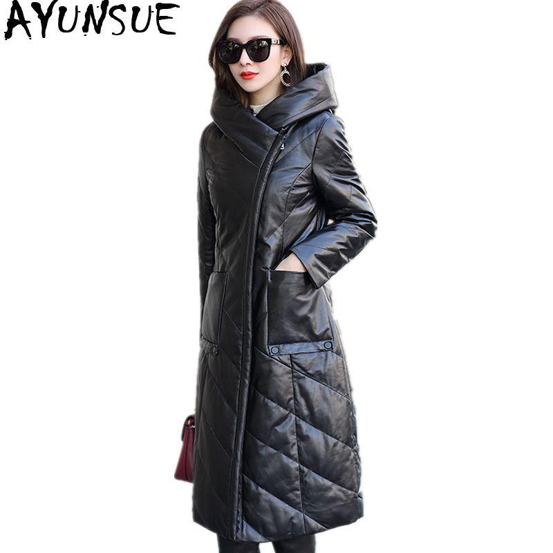 AYUNSUE Natürliche Schaffell Mantel 2018 Casual Echtem Leder Jacke Frauen Lange Warme Winter Unten Jacken Mit Kapuze Plus Größe WYQ2075