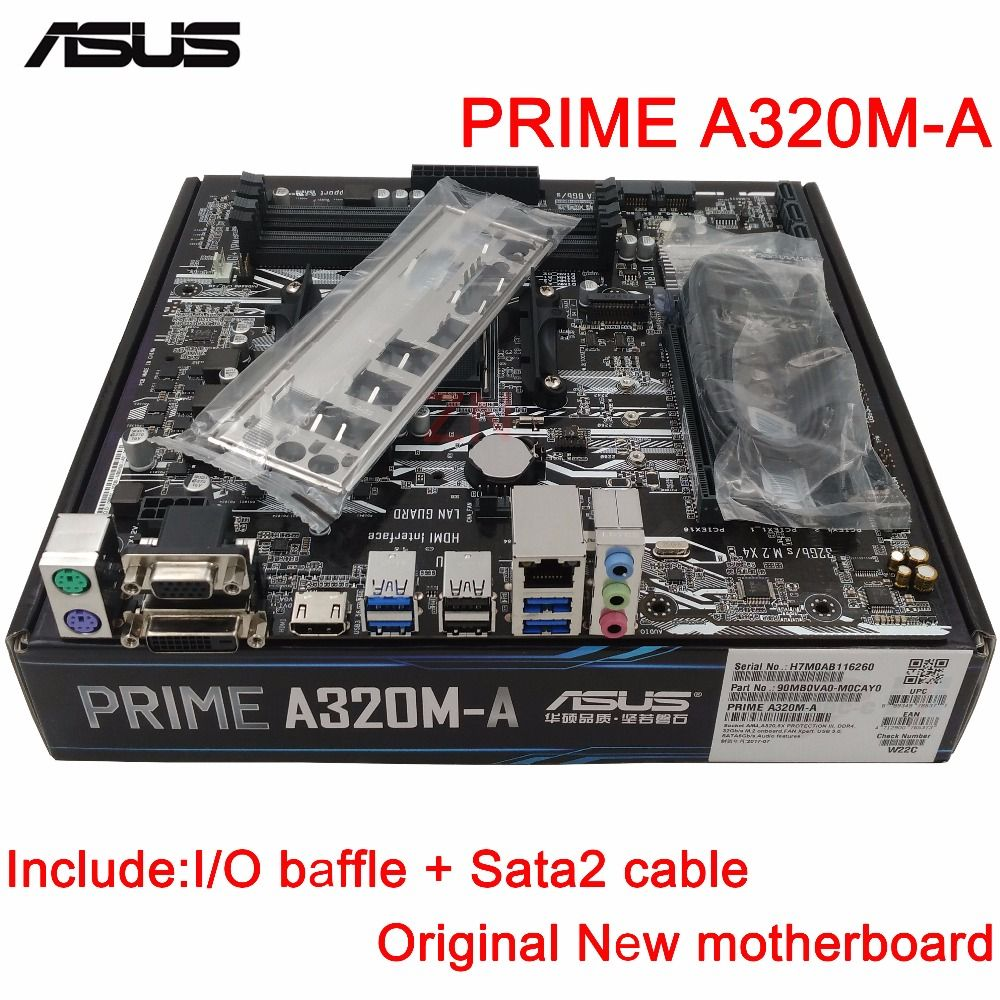 original New Desktop motherboard ASUS PRIME A320M-A mother board Socket AM4 4*DDR4 3200/2933/2666/2400 MHz support 64G 8*SATA3