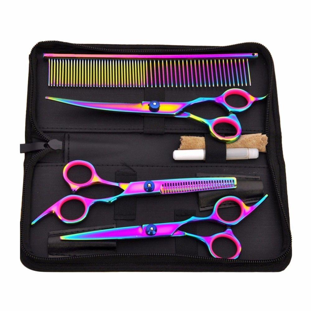 Vente chaude Pet Hair Cut Coloré Ciseaux Tondeuses Dent Plat Cut animaux Beauté Outils Set Kit Chiens Toilettage Coupe De Cheveux Ciseaux Ensemble