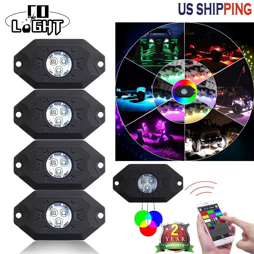 CO LIGHT 9W RGB Rock Light Kit IP68 With LED Chips Under Car Truck Vehicle Light Bluetooth for Offroad SUV 4WD ATV