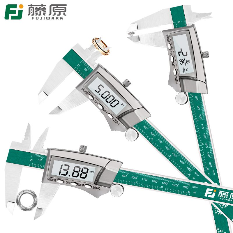 FUJIWARA Digital Display Stainless Steel Caliper 0-150mm 1/64 Fraction/MM/Inch LCD Electronic Vernier Caliper IP54 Waterproof