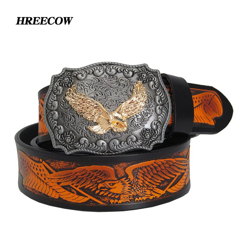 Fashion Casual Men's Leather Belts Top Quality Eagle Totem Copper Smooth Buckle <font><b>Retro</b></font> Belt For Men's Jeans
