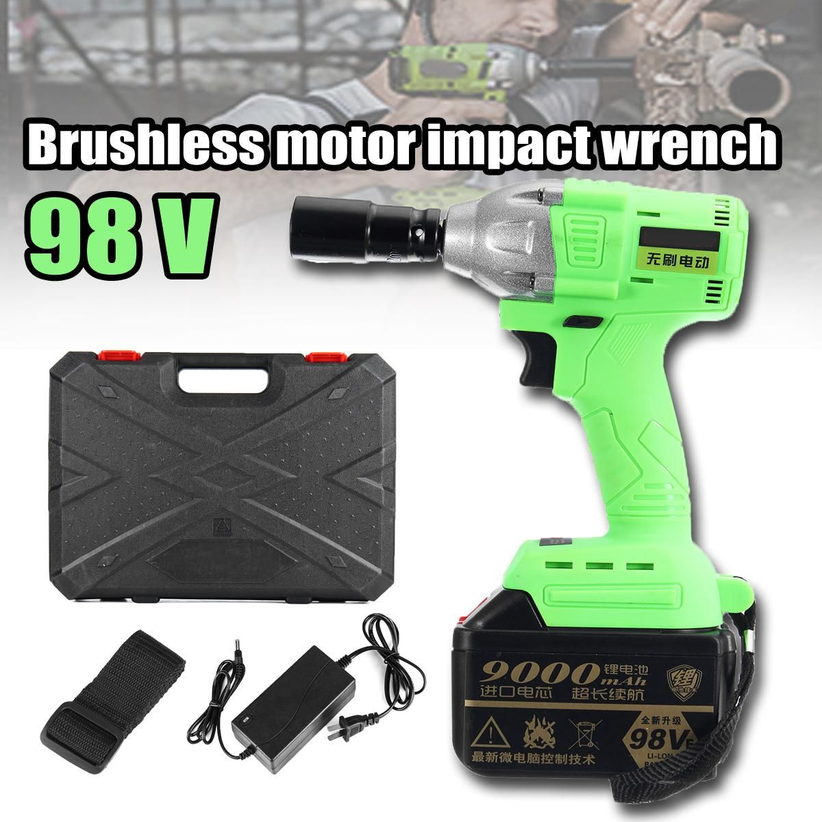 1Set 98V Cordless High Torque Lithium-Ion Brushless motor Electric Impact Wrench 3 Speed Torque 520 3200r/min Nm