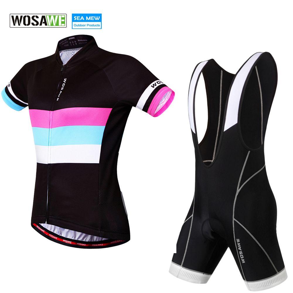 WOSAWE 2017 women cycling jersey Pro Bike Jersey and Cycling Bib Shorts Padded Bicycle Clothing Ropa Ciclismo Cycling Wear