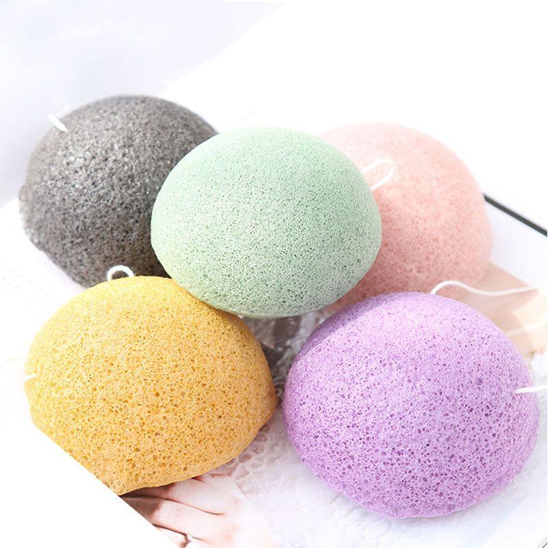 100Pc 70*40 semicircle dry natural giantarum konjac sponge konnyaku for facial cleansing, exfoliator, bathing washing puff
