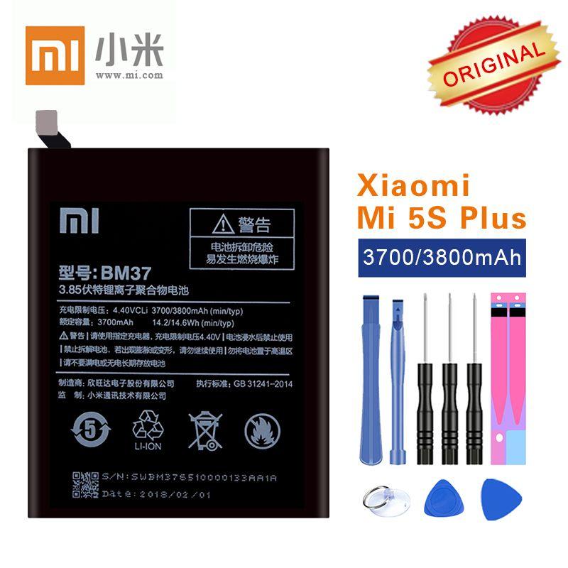 100% Original Xiao mi Batterie BM37 Für Xiao mi mi 5 S Plus Handy Batterien mi 5 s Plus top Qualität 3700 mAh + kostenlose Reparatur Werkzeuge
