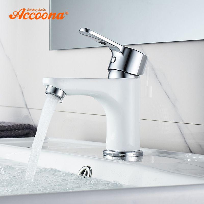 Accoona nouveau robinet de lavabo robinet de salle de bain contemporain en laiton peint poignée unique trou unique robinet chaud et froid pont A9067