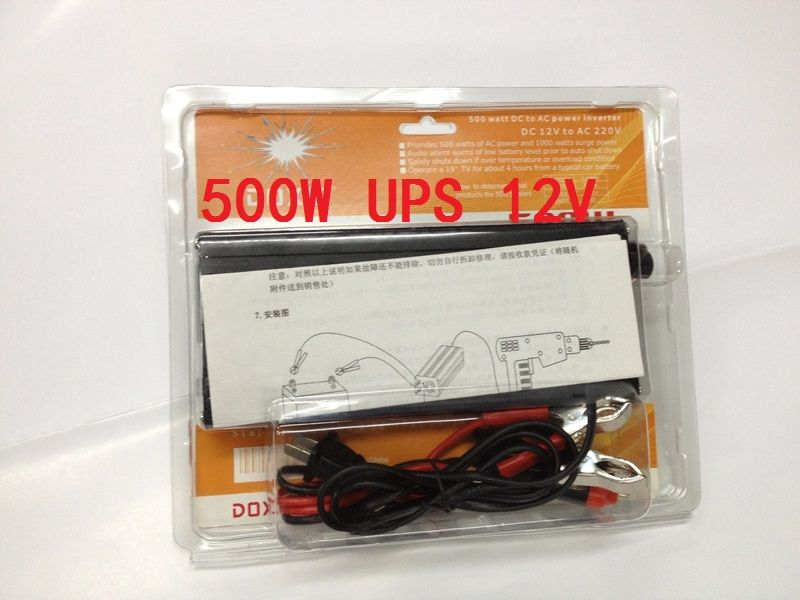 free shipping,500W(peak power 1000W) DC12v to AC220v Car Power Inverter+Charger 6A & UPS,Quiet and Fast Charge