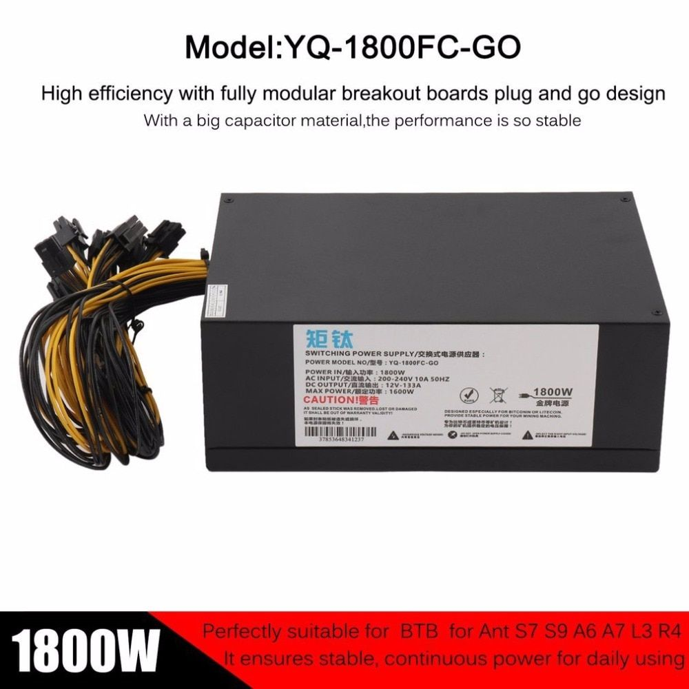 High Efficiency 1800W Server PSU Power Supply 6PIN Mining Machine Power Supply For Antminer S7 S9 A6 A7 L3 R4 EU Plug