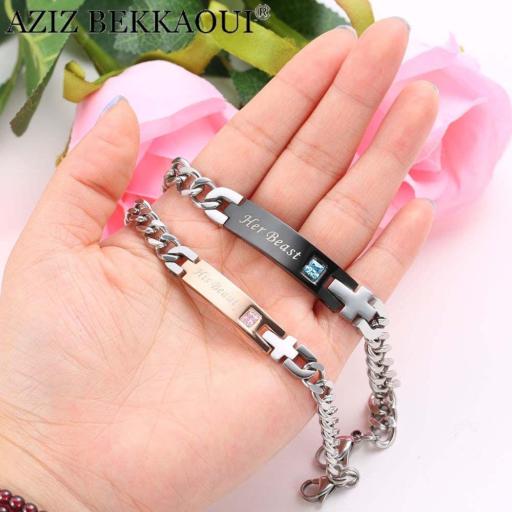 AZIZ BEKKAOUI Couple Bracelets avec boîte meilleur cadeau Bracelets pour femme en acier inoxydable hommes femme mode bijoux livraison directe