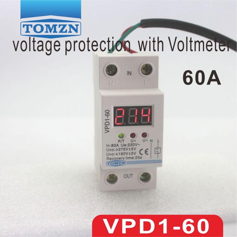 60A 220 V automatische verbinden überspannung und unter spannung schutz gerät relais mit Voltmeter spannung monitor