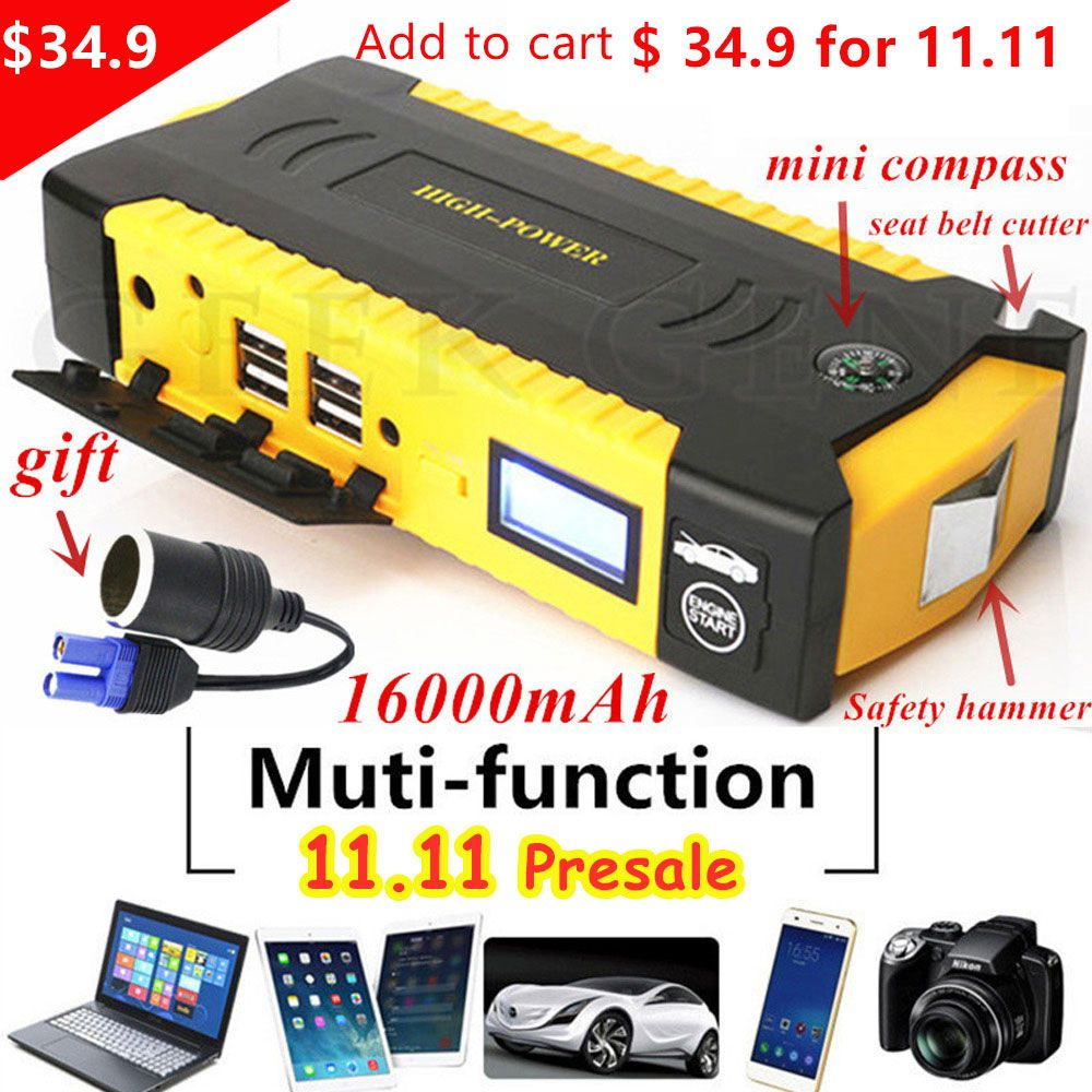 High Capacity 16000mAh Car Jump Starte 600A 12V Portable Power Bank Car Starter For Car Battery Booster Charger Starting Device