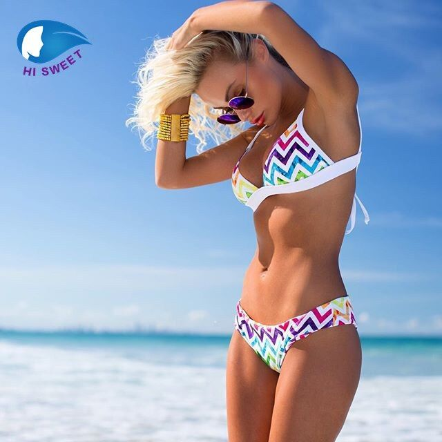 Treasity rainbow bikini 2018 sexy swimwear women biquini Brazilian women mini micro bikini set swimsuit girl stripy <font><b>swim</b></font> suit