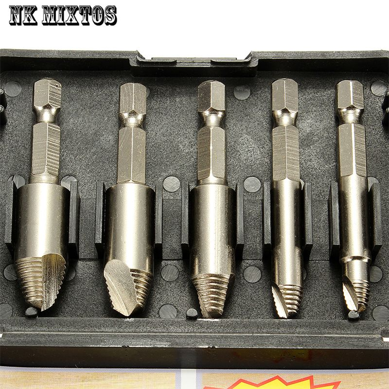 5 шт./компл. Remover дрель инструмент винт легко вынуть Скорость extractor набор 1/4 Hex Хвостовик с Чехол дерево Инструменты Наборы для ухода за кожей