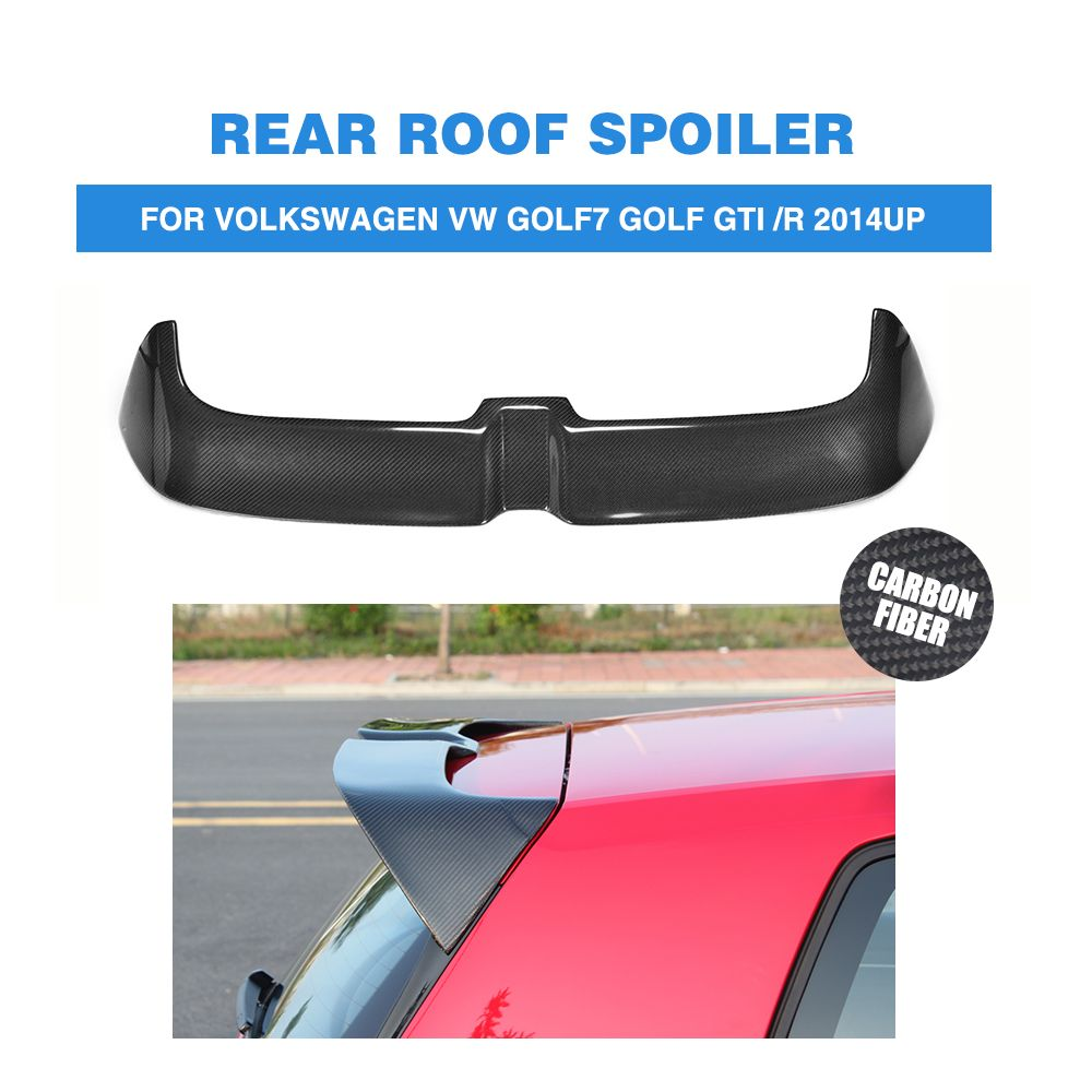 MK7 Carbon Rear Trunk Roof Spoiler for Volkswagen VW Golf 7 VII MK7 GTI R 2014 - 2018 O Style Window Tail Wings FRP Black