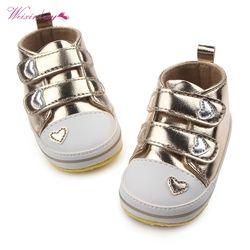 Musim Gugur Musim semi Sepatu Anak Laki-laki Baru Lahir Bayi Perempuan Tenis Klasik berbentuk Hati PU Kulit Pertama Walkers Lace-Up