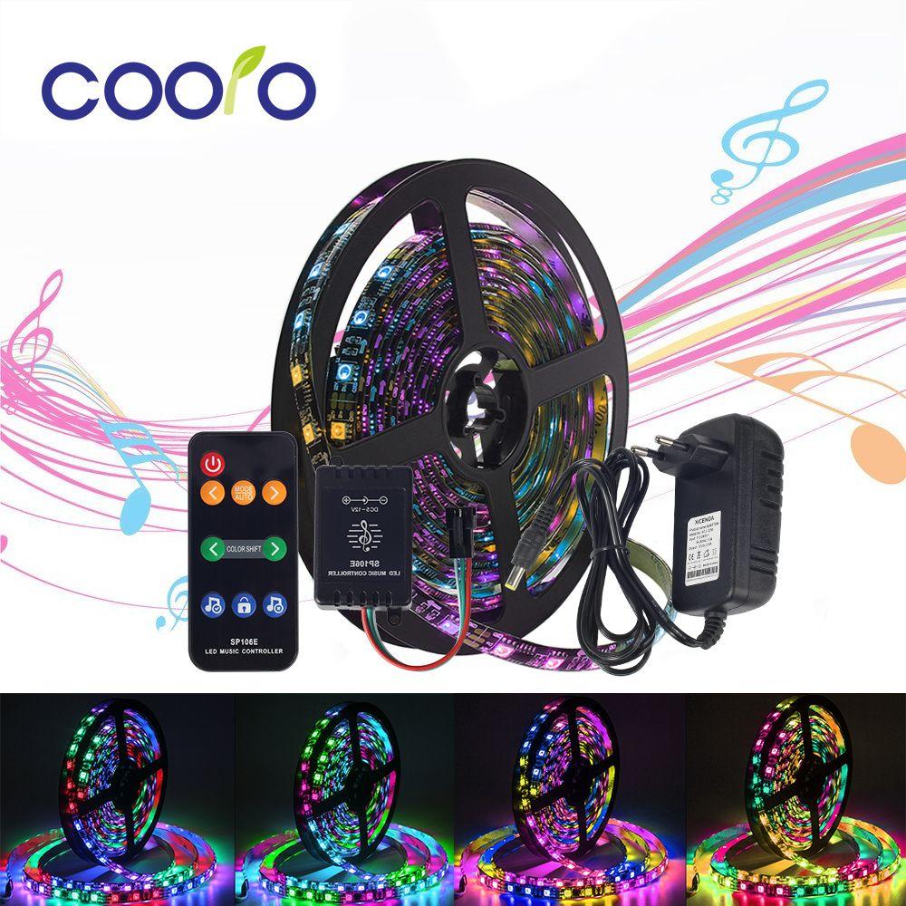 5m WS2811 Digital LED Strip 12V Dream Color 30LEDs/ 60LEDs RGB LED Strip Light Set with Music Controller Power Adapter