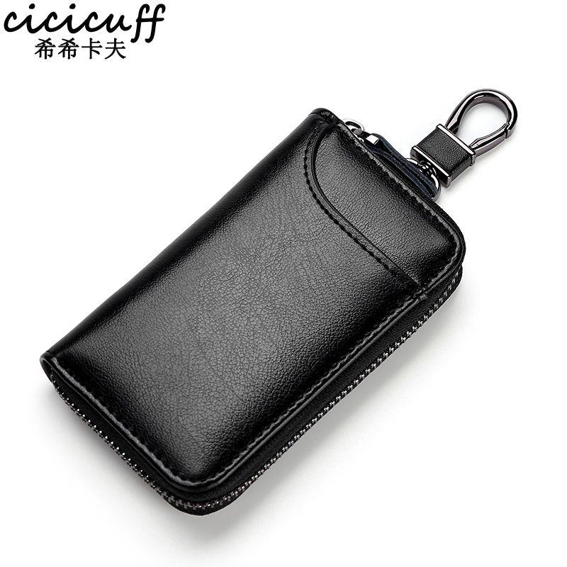 Porte-clés en cuir véritable unisexe sac à clés organisateur multifonction porte-cartes femme de ménage intelligente voiture petit étui à clés pochette