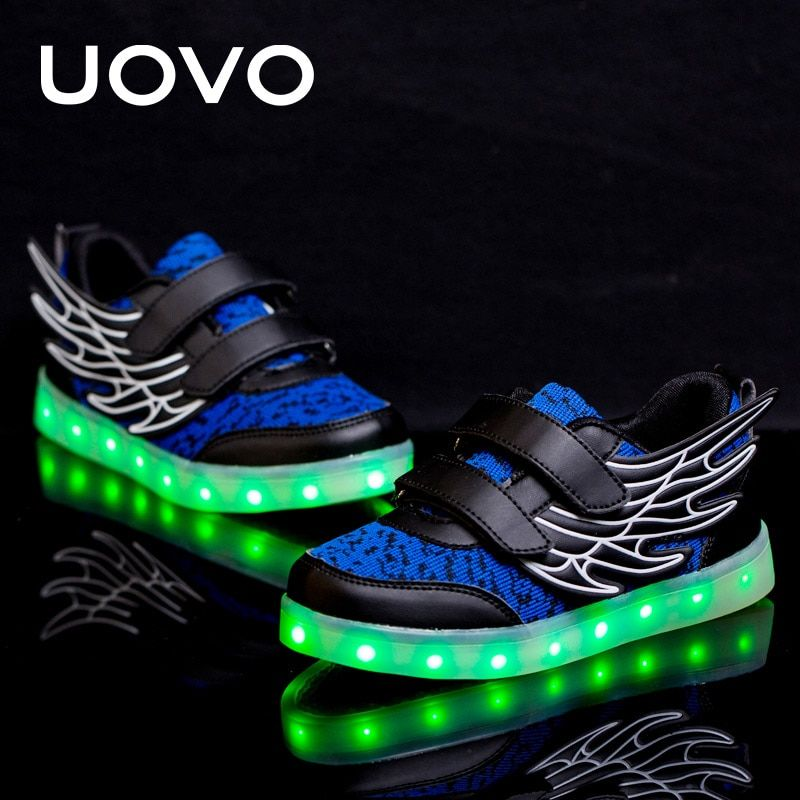 UOVO Kids Luminous Sneakers USB Charge Led Children Shoes Wing Light Up Shoes Spring Glowing Sneakers For Boys And Girls Casual