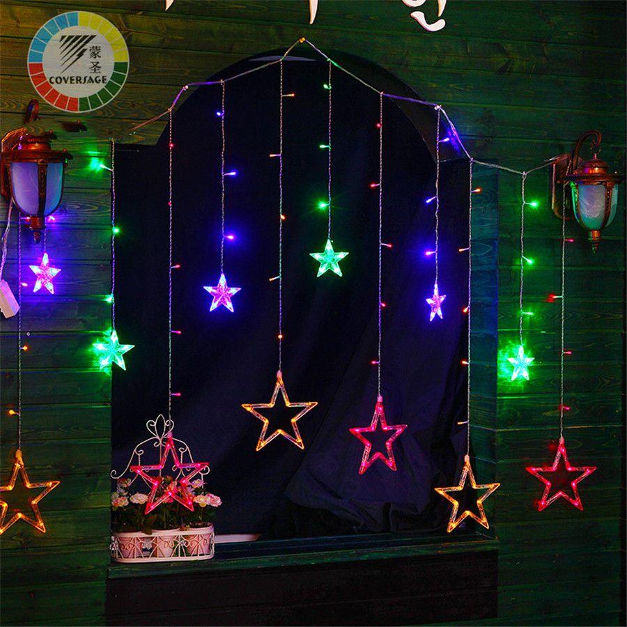 Coversage 138 Светодиодов Фея огни строки занавес girnaldas Luces Navidad светодиодные елочные украшения открытый декоративный сад