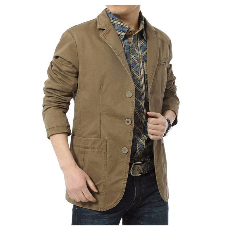 NIANJEEP 2017 New Autumn Casual Blazers Men Cotton Deinm Casual Suits Jackets Military Army Green Khaki Big Size M -XXXXL A0287
